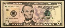 US 5 Dollar Bill Latest Issue Abraham Lincoln 2013 series