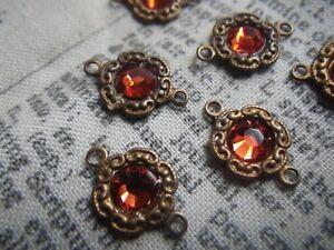 Indian Red Swarovski Crystal Tiny Daisy Brass Ox Connectors 6 Pcs