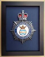 Large Scale Framed Cambridgeshire Constabulary Cap Badge Plaque Police