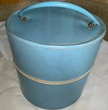 Vintage Hat Wig Travel Luggage Carrying Case Baby Blue Vinyl Suitcase Luggage