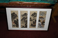 Chinese 4 Panel Painting-Trees Water Village Mountains-Signed Stamped-Framed