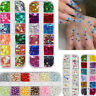 12 Grids/Box Nail Art Decoration Glitter Butterfly Sequins Colorful Rhinestones