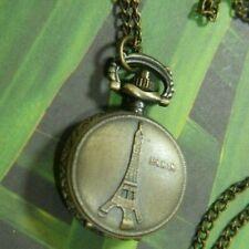 """PARIS 1 1/2"""" w bale PENDANT WATCH 30"""" antique gold TONE CHAIN necklace A35"""