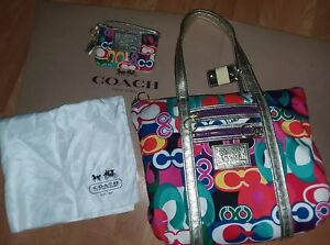COACH POPPY Multicolor Beautiful Glam Tote Shopper Bag & Wristlet