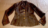 Eileen Fisher linen woven jacket  brown/charcoal/white weave size 4p