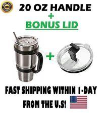 Handle For 20 Oz YETI RTIC Ozark Rambler Tumbler Cup Holder Travel Black New LID