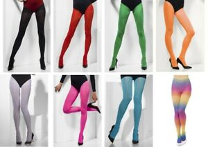 Womens Designer Fashion Coloured Opaque Tights Blue Red Pink White Black Green