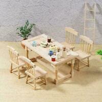1:12 Puppenhausmöbel 1 Esstisch und 4 Stühle Holz kann wer Spielzeug gemalt Z1W1