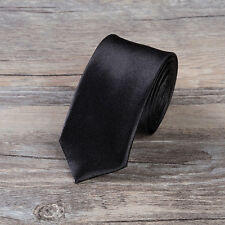 Men' Women Skinny Slim Tie Solid Color Plain Silk Necktie 5cm Unique Ties