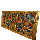 Balinese Lotus Panel architectural Relief Wood Carving Bali wall Art Teal 24