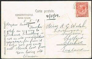 1919 British Levant Postcard KGV 1d Red ARMY PO Cancel to Cheshire CENSOR Cancel
