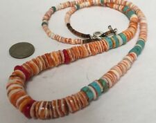 """Gradual diameter spiny oyster shell/turquoise/coral necklace//23""""(w308a-w1)"""
