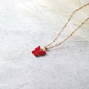 New Fashion Women 18K Gold Red Cute Butterfly Pendant Necklace Christmas Jewelry