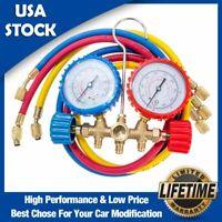 R134A R12 R22 R502 HVAC A/C Refrigeration Diagnostic Manifold Gauge 3ft Hose