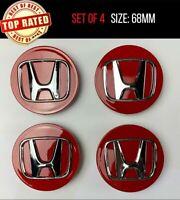 4x Honda Red Car Centre Caps Hub Caps OEM PS+PPE Civic Accord Type R Type S 68mm