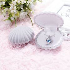 Grey Shell Shape Velvet Display Gift Box Jewelry Case For Necklace Earrings Ring