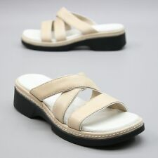 Clarks Ladies Size 6 M Tan Leather Strap Slip On Slides Wedge Sandals