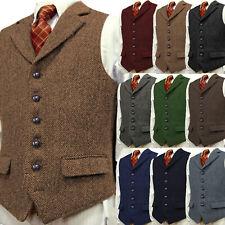 Herren Vintage Tweed Weste Retro Herringbone Notch Lapel Formal Wolle S-XL-3XL