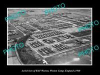 OLD POSTCARD SIZE PHOTO AERIAL VIEW RAF WEETON WEETON CAMP ENGLAND c1940