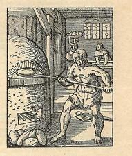 Stampa antica PANETTIERE FORNAIO al FORNO del PANE 1908 Old antique print