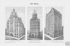 Stich um 1900 Hohe Häuser Hochhäuser Wolkenkratzer