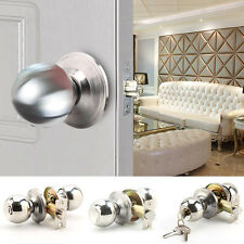 Stainless Steel Round Door Knobs Handle Entrance Passage Lock Entry with Key