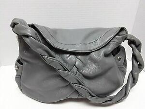 B.MAKOWSKY Grey Pebbled Leather Shoulder Bag - EUC!