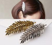 Haarklammer Ast Haarspange Haarschmuck Boho Trend Blatt gold Feder
