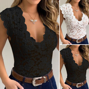 Women V Neck Sheer Floral Lace Blouse Casual Slim Shirt Top Sexy Bodysuit Romper