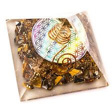 Tiger Eye Stone Flower of Life Orgone Pyramid Orgonite Reiki Crystal Gemstones