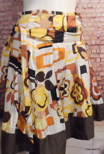 cute funky floral mustard tan brown white pleat skirt 14