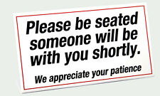 """Plastic """"Please Be Seated"""" waiting room sign, 2 pack, Free Shipping"""