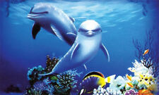 Dolphins 3D Aquarium Background - 20 in. x 12 in. - 10 gal - LB2 - Penn Plax