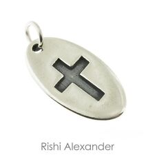 925 Sterling Silver Oval Cross Tag Charm Made in USA