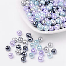 BULK 200 Glass Beads 6mm - with Shades of Purple, Blue Grey - BD1474