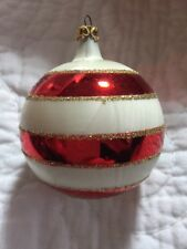 Vintage Glass Red, White & Gold  Striped Glitter Christmas Ornament