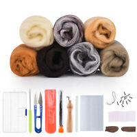DIY Needles Felting Starter Kit Handcraft Craft Soft Felting Wool Natural 7Color