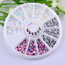 Nice DIY Nail Art Tips Charm Gems Crystal Glitter Rhinestones 3D Decor Wheel Hot