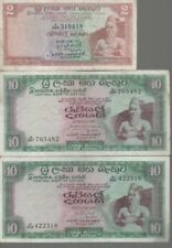 CENTRAL BANK OF CEYLON 2 X 10 RUPEES AND 1 X 2 RUPEES BANKNOTES