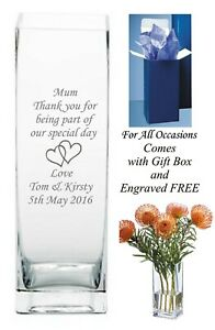 Personalised Engraved Vase, mother of the Bride / Groom gifts, Wedding gifts