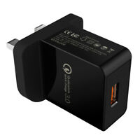 UK EU Fast Charger QC 3.0 USB 18W Single USB Port Quick Wall Charger Adapter