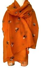 Bee Scarf Ladies Orange Bumble Bees Print Wrap Large Tangerine Shawl