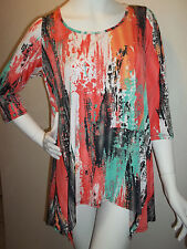 FASHQUE LONG TRAVEL KNIT TOP POINTED SIDES      LRG    CORAL/MULTI