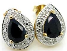 Natural 1.60ct Sapphire & Diamond 9ct 9K 375 Solid Gold Stud Earrings