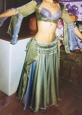 Professional Hand Made Belly Dance Costume 5 Pieces Purple/Sage Bellydance Set S