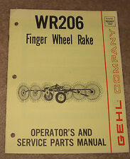 GEHL Company WR206 Finger Wheel Rake Operator and service parts manual