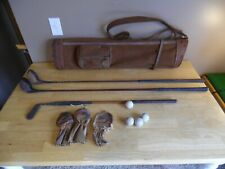 Vintage Golf Club Set Bag Clubs Balls Headcovers Collectible Golf Clubs
