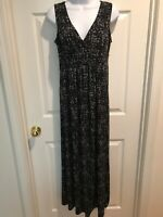 Daisy Fuentes Print V-Neck Fit & Flair Maxi Dress Sz S Black & Gray