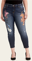Torrid Runway Girlfriend Jeans Distressed Dark Wash With Paint Women's Size 24R