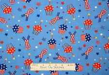 Patriotic USA Cupcakes Star Ribbon July 4th Independence Day Fabric - 29 Inches